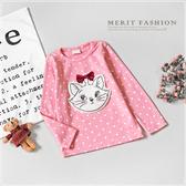 純棉 甜美瑪麗貓蝴蝶結點點長袖上衣 韓版 粉色 貓咪 毛絨 女童 上衣 長袖 秋 保暖 哎北比童裝