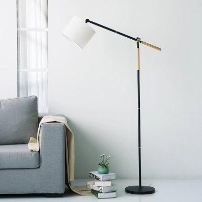 北歐宜家落地燈創意實木客廳臥室書房現代簡約可調節立式釣魚臺燈