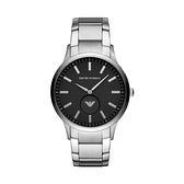 【Emporio Armani】美式經典紋路線條時尚鋼帶腕錶-時尚黑/AR11118/台灣總代理公司貨享兩年保固