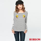 BOBSON 女款狗狗刺繡黑白條紋 (37072-88)