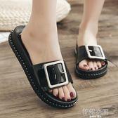 2019新款沙灘鞋時尚拖鞋女夏季平底女士一字拖外穿防滑涼拖鞋厚底   韓語空間