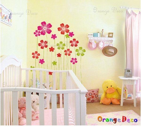 壁貼【橘果設計】三色花 DIY組合壁貼/牆貼/壁紙/客廳臥室浴室幼稚園室內設計裝潢