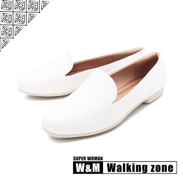 【南紡購物中心】WALKING ZONE SUPERWOMAN系列百搭方頭平底樂福鞋女鞋-白(另有卡其.黑)