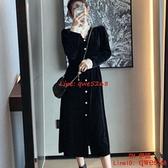 早春秋女裝法式復古赫本風氣質黑色連身裙子金絲絨長裙【CH伊諾】