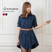 襯衫洋裝--氣質魚形連續圖案印刷弧形長短下襬長版襯衫(紅.藍XL-3L)-I104眼圈熊中大尺碼