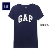 Gap 女裝 Logo簡約圓領短袖T恤 355309-海軍藍色