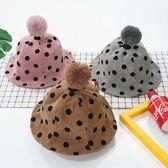 兒童秋冬漁夫帽燈芯絨大毛球盆帽男童遮陽帽