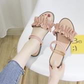 涼鞋 一字帶涼鞋女夏平底學生正韓荷葉邊2019新款時尚百搭一鞋兩穿涼拖