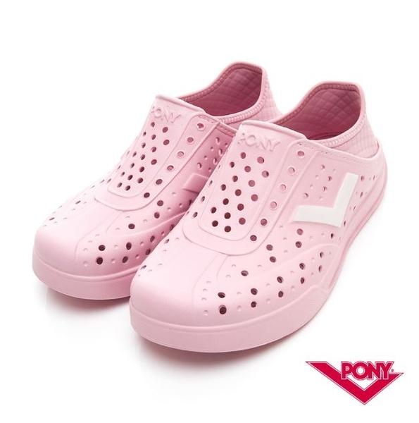 PONY 中性款洞洞水鞋粉白LOGO-NO.92U1SA03PK