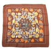 HERMES 愛馬仕 棕色植物繪圖絲質小方巾 【二手名牌BRAND OFF】