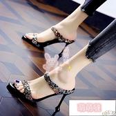 高跟拖鞋 拖鞋女性感水鉆一字半拖夏季時尚百搭露趾細跟高跟涼鞋【萌萌噠】