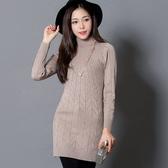 中長款休閒針織連身裙冬季修身羊絨衫半高領套頭中長款大碼女裝打底衫連衣裙3F001A-838