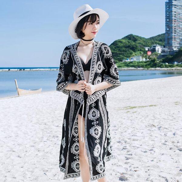 防曬衣實拍917#蕾絲泰國度假連身裙明星同款海邊沙灘長裙仙女神防曬泳衣罩衫GTB1F-BF-11B韓依戀