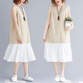 新款夏季寬松大碼洋裝 文藝下擺拼色無袖背心裙中長款棉麻連衣裙女 快速出貨