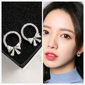 【NiNi Me】韓系耳環 氣質甜美圓形蝴蝶結水鑽鋯石925銀針耳環 耳環 N0237