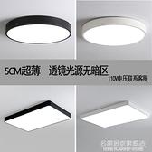 超薄led吸頂燈北歐圓形臥室燈長方形客廳房間過道燈110V-220V燈具 NMS名購新品