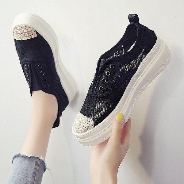 樂福鞋 夏季漁夫鞋女鞋蕾絲網面鬆糕底圓頭懶人鞋一腳蹬樂福鞋-Ballet朵朵