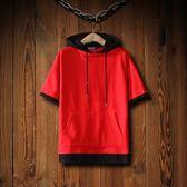 85折日系夏季寬鬆連帽短袖衛衣T恤情侶帽衫 韓版99購物節