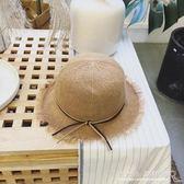 夏裝新款兒童沙灘草帽韓范女童防曬遮陽手工編織帽『CR水晶鞋坊』