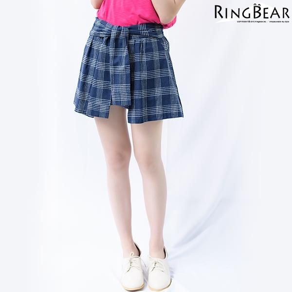 褲裙--清甜可愛潮流百搭款假兩件式後鬆緊收腰格紋綁帶褲裙(白.藍XL-5L)-R74眼圈熊中大尺碼