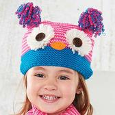 保暖針織帽: 粉藍貓頭鷹: 150A023