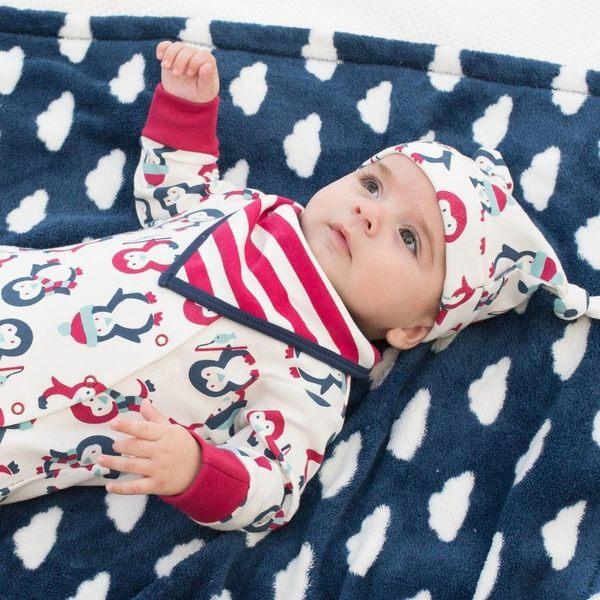 有機 / 連身衣 Kite 有機棉長袖包腳連身衣 - 紅藍小企鵝 BU012
