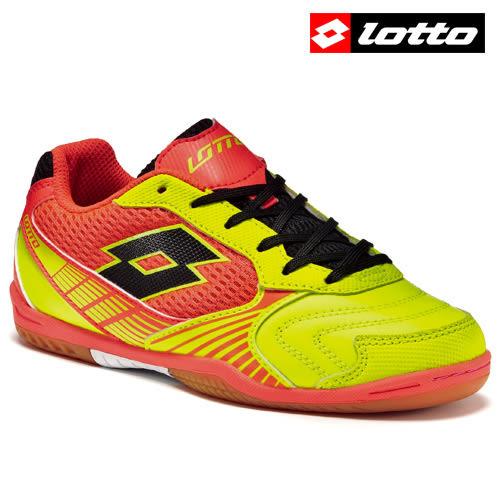 【LOTTO】TACTO II 500 義大利進口專業五人制兒童室內足球鞋 - 橘黃