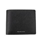 【Michael Kors】Harrison 銀色燙金LOGO 牛皮對開短夾附可拆票夾(黑色)