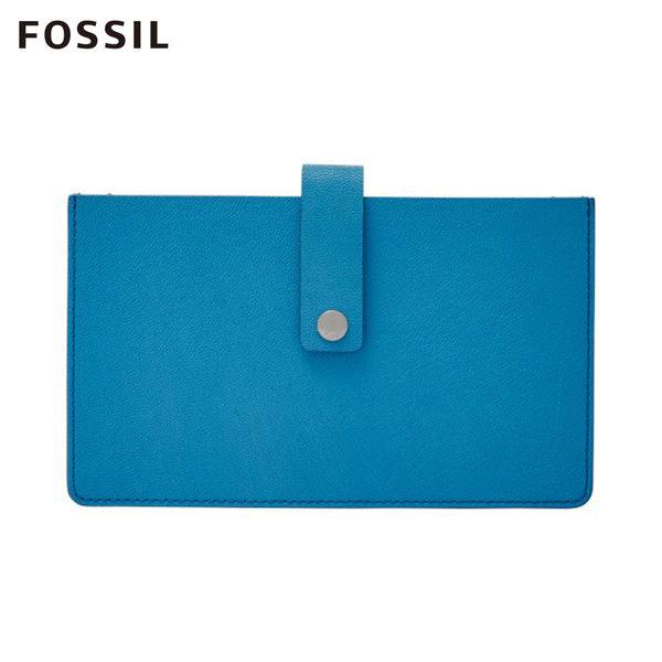 FOSSIL Vale 湛藍天空 飽和藍色多隔間真皮搭扣中夾 #多國貨幣