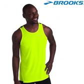 【BROOKS】男款極速乾競賽運動圓領背心 - 夜光黃
