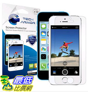 [105美國直購] Tech Armor High Defintion Clear Screen Protector for iPhone 5/5c/5s (Pack of 3)