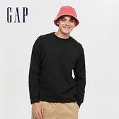 Gap男裝 基本款圓領厚磅休閒長袖T恤 660825-黑色
