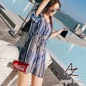 比基尼泳裝-日本品牌AngelLuna 日本直送 藍白直條紋連身褲三件式溫泉沙灘泳衣