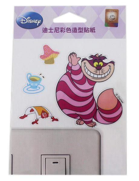 【卡漫城】妙妙貓 彩色造型貼紙 ㊣ 透明 Alice 愛麗絲夢遊仙境 笑笑貓 Cheshire Cat 台灣製 裝飾貼