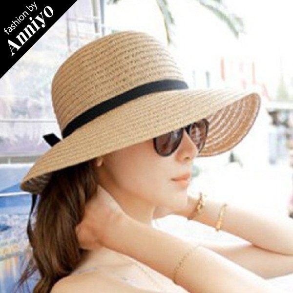 Anniyo安妞‧韓版森女風海邊度假必備單品蝴蝶結編織草帽遮陽帽太陽帽子沙灘帽 3色