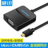 電視轉接頭  hdmi轉vga適用手機電腦平板電視連接投影儀顯示器音視頻高清線轉接頭HDMI轉換器 1色