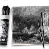 馬利素描全碳炭筆鉛筆繪畫軟中硬性軟碳速寫全炭馬力馬麗美術專用WD 至簡元素