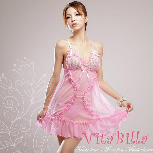 【伊莉婷】VitaBilla 粉色誘惑 睡裙+小褲 二件組