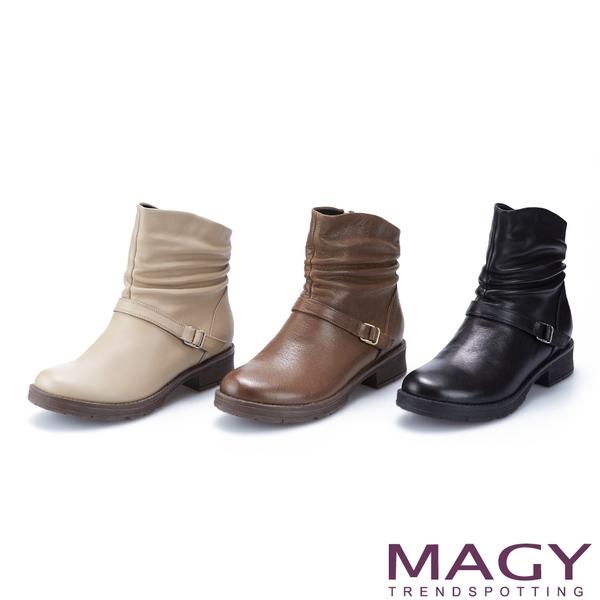 MAGY 真皮皺摺斜邊皮帶釦飾低跟 女 短靴 可可