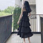 2019新款度假海灘裙吊帶裙女夏超仙洋氣長裙波點蛋糕v領洋裝子 「米蘭街頭」