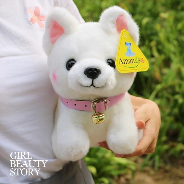SISI【G8033】現貨可愛彷真小白柯基絨毛玩偶布娃娃玩具生日聖誕節交換禮物