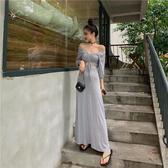 假兩件洋裝 簡約韓風時尚假兩件洋裝女高腰顯瘦長裙秋季法式小眾裙子  poly girl
