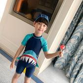 兒童泳衣男童連身中大童小童長短袖沙灘防曬連身男孩寶寶可愛泳衣