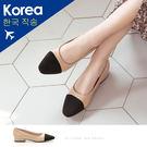 跟鞋.鞋頭拼接低跟包鞋-FM時尚美鞋-韓...