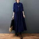 中大尺碼洋裝 秋裝新款韓版寬鬆大尺碼洋派燈芯絨翻領長版長袖內搭洋裝女裝