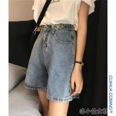 夏裝韓範顯瘦高腰牛仔短褲女寬鬆直筒闊腿五分中褲潮 洛小仙女鞋