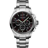 LONGINES 浪琴 征服者系列V.H.P.萬年曆計時手錶-黑x銀/43mm L37274566