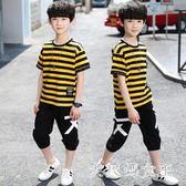 男童套裝兒童裝新款夏季中大童12男孩短袖13運動兩件套15歲潮 JY1623【大尺碼女王】