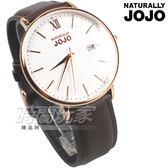 NATURALLY JOJO 羅馬城市對錶 真皮錶帶 防水手錶 玫瑰金x白 男錶 JO96938-80RM