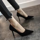 2019新款春款黑色法式少女高跟鞋女尖頭細跟百搭性感職業單鞋